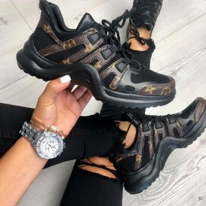 Sneaker mit Lederdetails schwarz braun gold Blogger Gr. 37