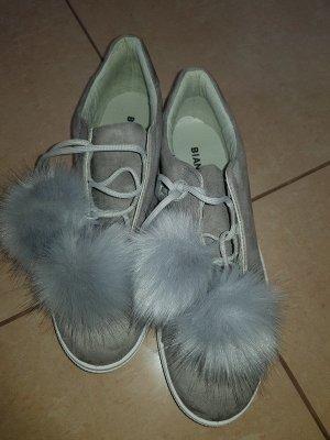 Sneaker pompon halbschuhe Schuhe Bianco Gr. 41 neu grau