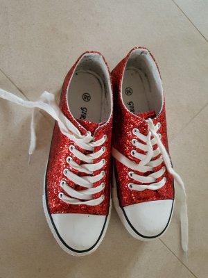 Sneaker rot und Glitzer#Turnschuhe#casual#chucks
