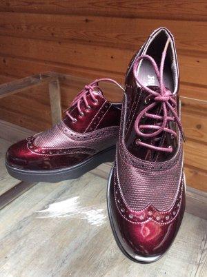 Sneaker Schnürschuh Budapester Muster weinrot Gr. 39