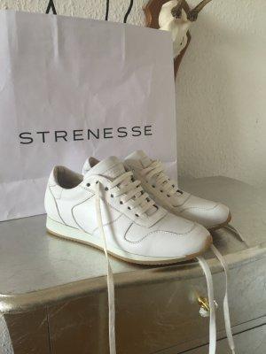 Sneaker Schnürsneaker Low Leder Kalbsnappa Retro Street Fashion Look Edel Weiß