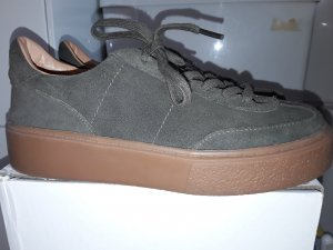 Sneaker Schnürsneaker Wildleder  Plateau Hippie Boho Streetstyle oliv khaki