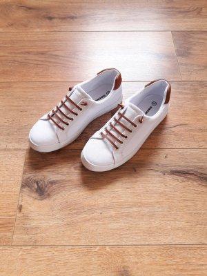 Sneaker Slipper weiß braun cognac Gr. 37
