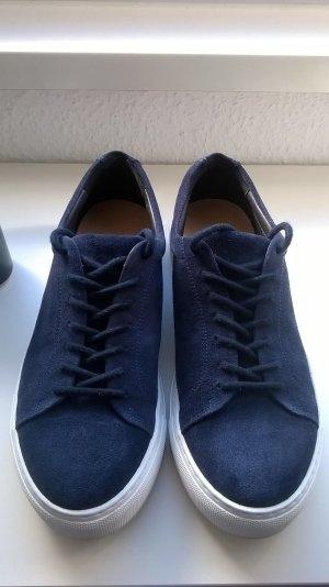 5th Avenue Lace-Up Sneaker dark blue-white suede
