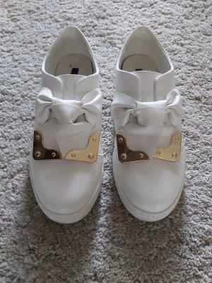 Lost Ink Zapatillas deslizantes blanco-color oro Imitación de cuero