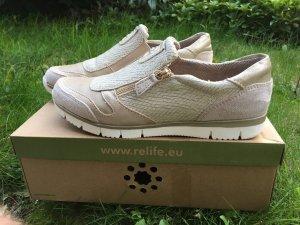 Slip-on Sneakers beige leather