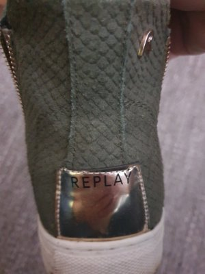 Replay Sneakers met veters olijfgroen