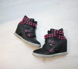 Sneaker Wedges Keilabsatz Boots Klettverschluss chic