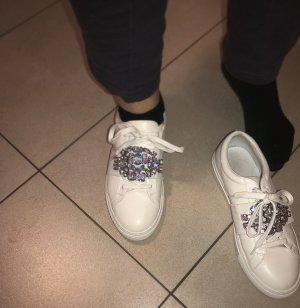 Sneaker Weiß 38 Glitzer Diamanten