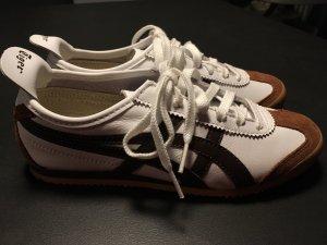 Sneaker Weiß-Dunkelbraun-Cognac