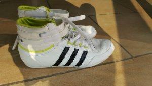 Sneakers Adidas High Top Leder weiß neongelb schwarz 38