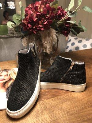 Sneakers, Booties, Leder, Glitzer, superbequem