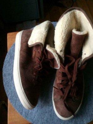 Sneakers echtleder gefüttert braun