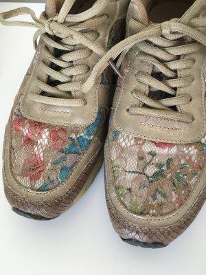 Sneakers Gold mit Blumen
