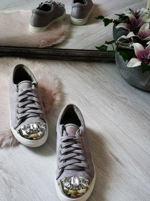 Sneakers mit Glitzer BLING BLING Schnürschuhe Schnürsneakers Freizeitschuhe Damen Schuhe Glitzer 39