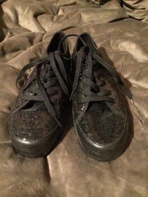 Sneakers mit Pailletten und Plateau !