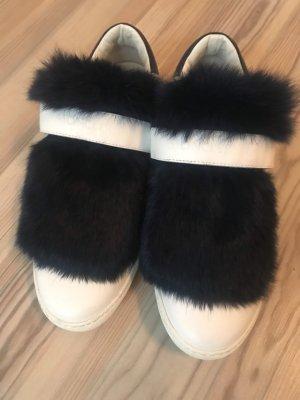 Moncler Klittenband Sportschoenen wit-donkerblauw