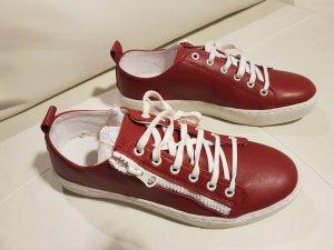 Alba Moda Basket à lacet blanc-rouge carmin cuir