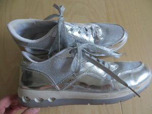 Lace-Up Sneaker silver-colored imitation leather