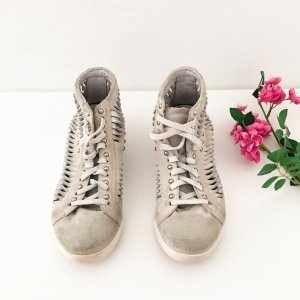 Lace-Up Sneaker white-silver-colored leather