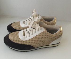 Sneakers Turnschuhe Gr. 42 beige gold schwarz weiß