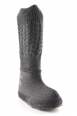 Snowboots dunkelgrau Zopfmuster Casual-Look