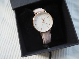 Watch With Leather Strap rose-gold-coloured-dusky pink suede