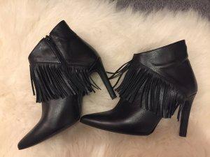 So Jamie black fringe booties size 38
