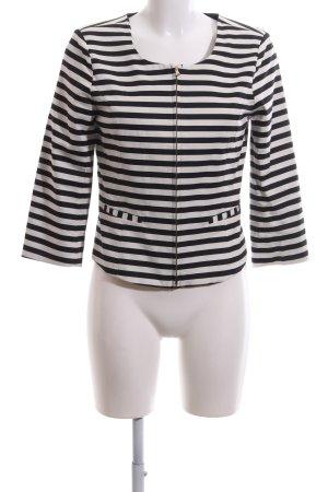 Soaked in luxury Kurz-Blazer weiß-schwarz Streifenmuster Casual-Look