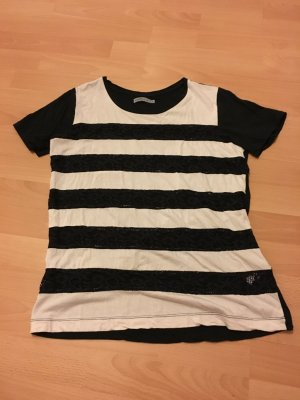 Soaked in Luxury M 38 schwarz weiß Shirt Spitze Streifen Bluse