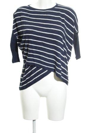 Soaked in luxury Rundhalspullover dunkelblau-weiß Streifenmuster Casual-Look