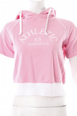 Sobimilla Hooded Shirt light pink-white printed lettering athletic style