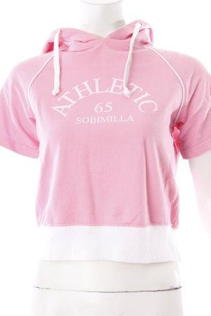 Sobimilla Top à capuche rose clair-blanc lettrage imprimé style athlétique
