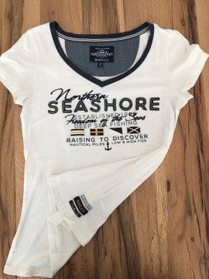 Soccx Blue Damen T-Shirt Weiß Maritim S/36 V-Ausschnitt