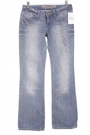 Soccx Boot Cut Jeans blau-wollweiß Washed-Optik