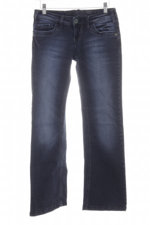 Soccx Boot Cut Jeans dunkelblau-blassblau Washed-Optik