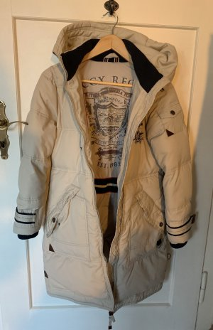 Soccx Manteau en duvet blanc cassé-bleu foncé