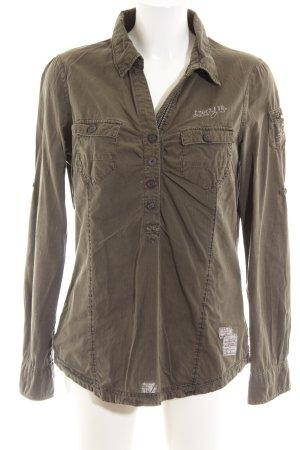 Soccx Hemd-Bluse khaki Schriftzug gestickt Casual-Look