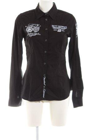 Soccx Hemd-Bluse schwarz-weiß Schriftzug gedruckt Casual-Look