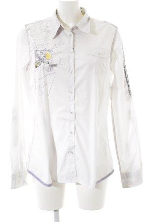Soccx Hemd-Bluse weiß abstrakter Druck Casual-Look