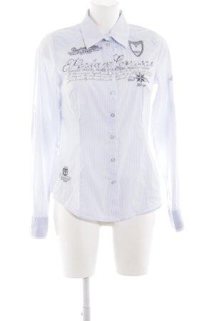 Soccx Hemd-Bluse weiß-blau Schriftzug gedruckt Casual-Look