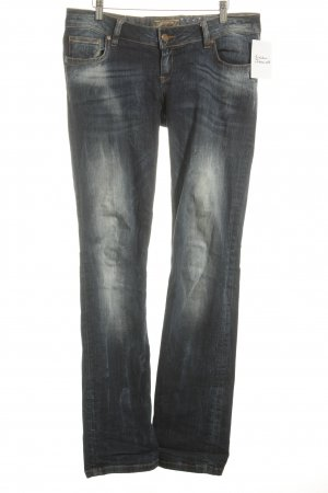 Soccx Low Rise Jeans dark blue-natural white washed look