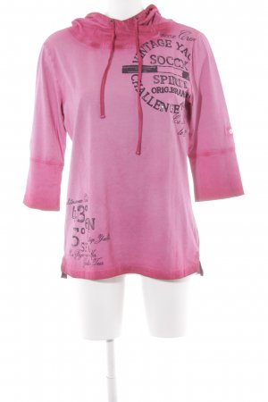 Soccx Hooded Shirt pink-brick red printed lettering casual look