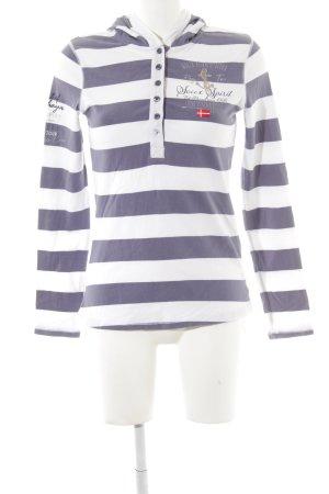 Soccx Kapuzenshirt stahlblau-weiß Streifenmuster Segel-Look
