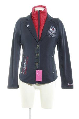 Soccx Blazer corto azul oscuro-rojo look casual