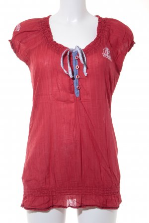 Soccx Kurzarm-Bluse rot Streifenmuster Casual-Look