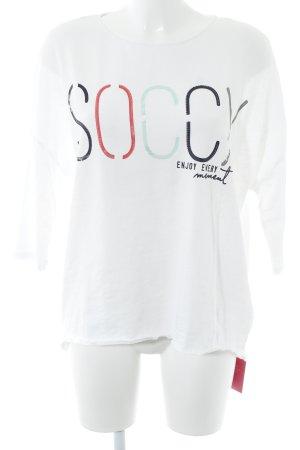 Soccx Sweater met korte mouwen gedrukte letters casual uitstraling