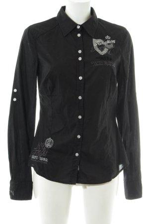Soccx Langarm-Bluse schwarz Schriftzug gedruckt Casual-Look