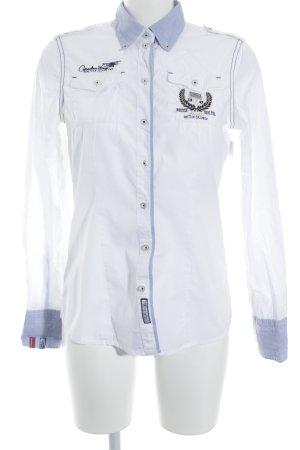 Soccx Langarm-Bluse weiß-himmelblau Segel-Look