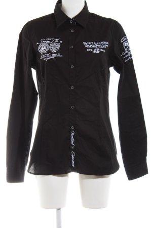 Soccx Camisa de manga larga negro-blanco estampado temático look casual